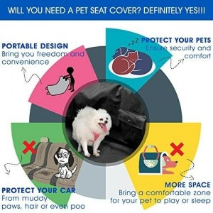 Waterproof Dog Car Seat Cover Hammock Protector for Back Seat with Two Pockets
