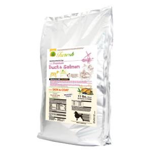 FURESH DRY DOG FOOD W/ PREMIUM DUCK & SALMON, 11 LBS- 50 INNER BAGS (SKIN & COAT)