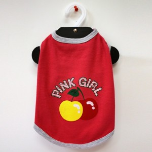 Pink Girl Cherry printed Tank top T-Shirt