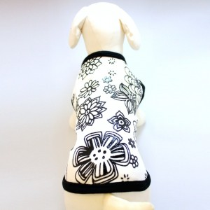 flower black and white fabric printed Tank top T-Shirt