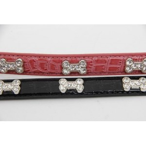 Luxury Leather Cubic Zirconia Studded Dog Collar