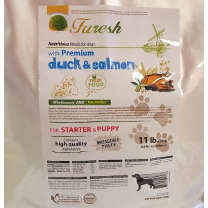 FURESH DRY DOG FOOD W/ PREMIUM DUCK & SALMON, 11 LBS- 50 INNER BAGS (STARTER & PUPPY)
