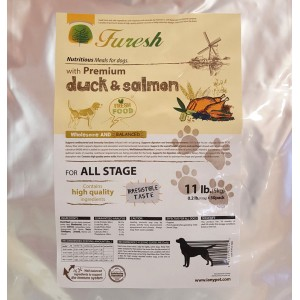 FURESH DRY DOG FOOD W/ PREMIUM DUCK & SALMON, 11 LBS- 50 INNER BAGS (ALL STAGE)