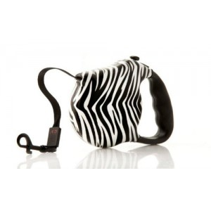 Retractable Dog Leash, Zebra Print, by - Alpha Dog Series