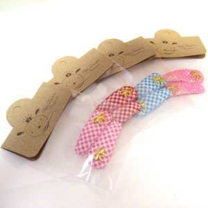 Mini gold ribbon clip pin (SET OF 4) - 2 PIECES OF EACH COLOR