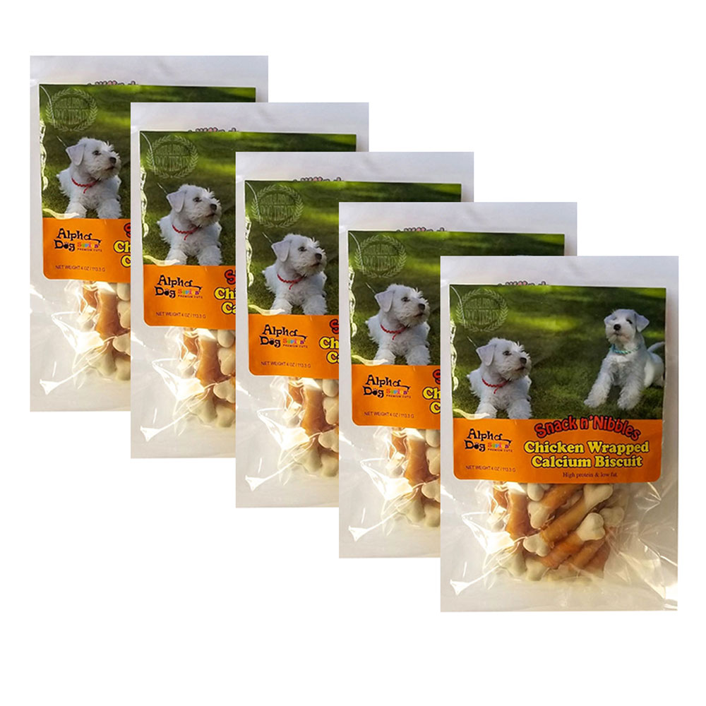 Alpha Dog Series Chicken Wrapped Calcium Biscuits - 4oz (Pack of 5)