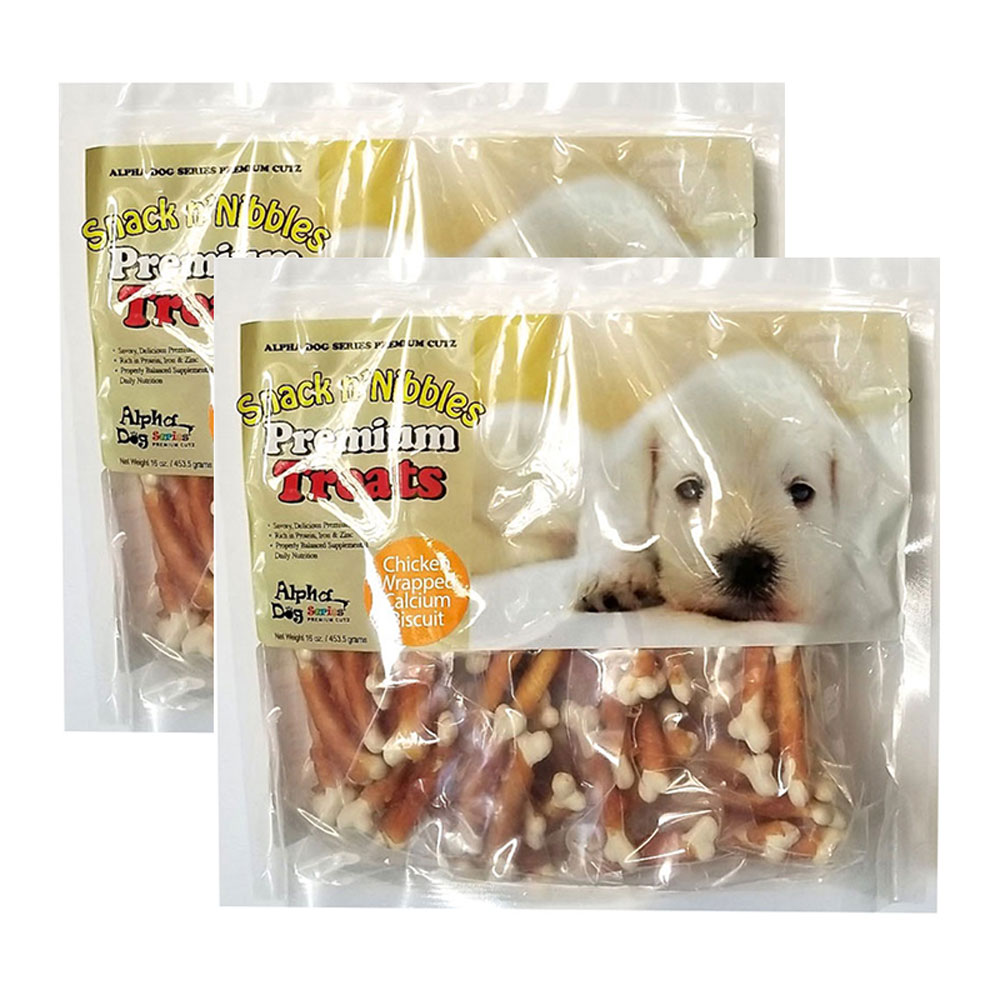 Alpha Dog Series Chicken Wrapped Calcium Biscuits - 16oz (Pack of 2)