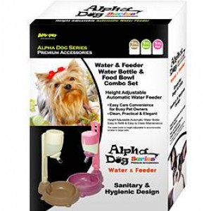 Alpha Dog Series Pet Water Feeder & Food Bowl Set - Pink